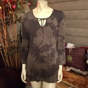 Samantha Chang Taupe Tie Dyed Tunic M